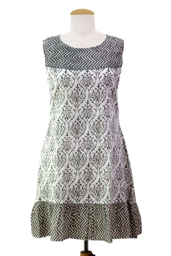 floral-grey-white-sleeveless-summer-dress-india