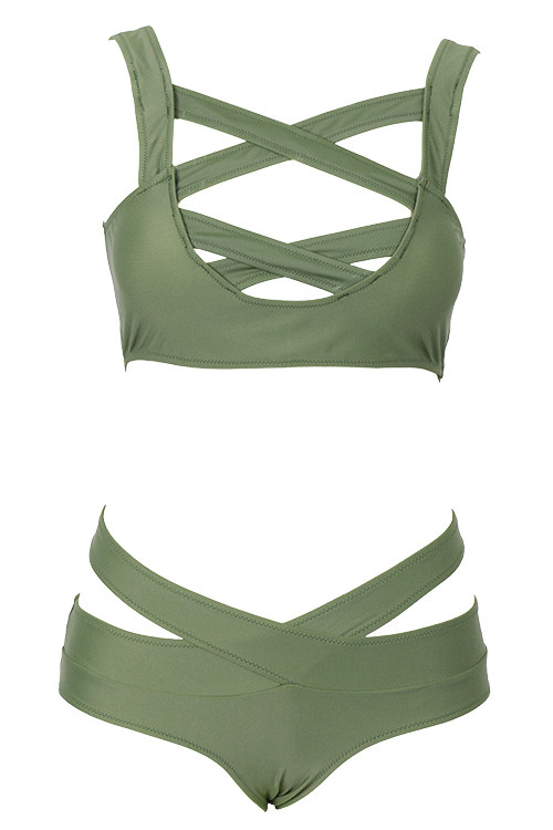 cupshe-cross-me-olive-green-bikini-set