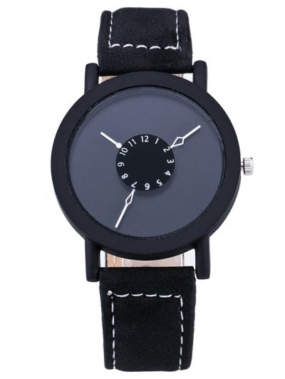 Vintage Faux Leather Circle Quartz Watch