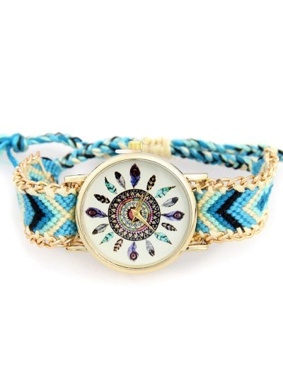 Feather Geometric Pattern Woven Watch
